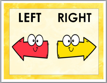 Positional Words Posters - Up, Down, Left, & Right