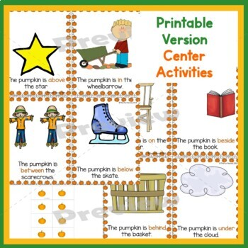 Positional Words Activities and Rhyming Activities  PK, Kinder and 1st