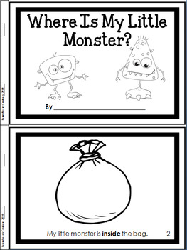 Positional Words (Prepositions) Booklet for Primary Grades: My Little Monsters