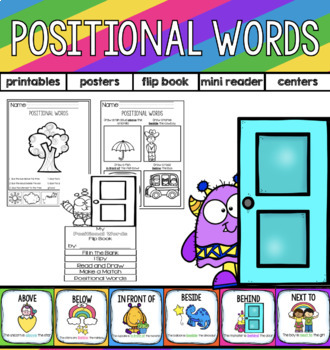 Positional  Words! Printables, posters, mini reader, and c