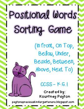 positional words sorting game common core k g 1 by mrspayton tpt