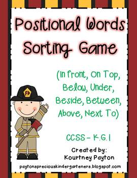 Positional Words Sorting Game - Fire Safety Theme Common Core K.G.1