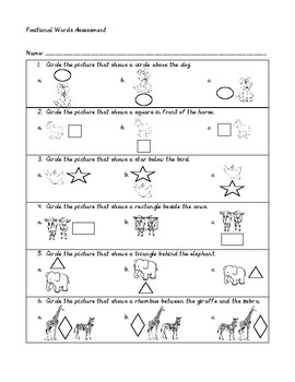 Positional Words Practice & Assessment