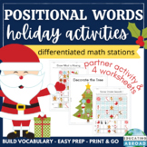 Positional Words Worksheets   Christmas Math Activities   Holiday Math Stations