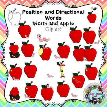 Positional and Directional Words Clip Art: Worm and Apple