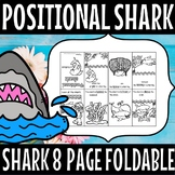 positional words -shark 8 page foldable  booklet