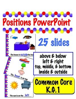 Positions PowerPoint - Common Core k.G.1  -  25 slides
