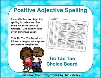 Positive Adjective Spelling Tic Tac Toe