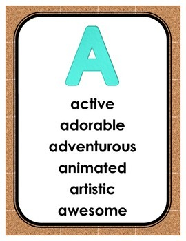 Positive Adjectives Posters