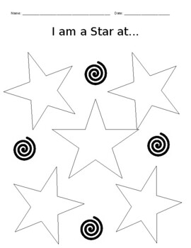 "Positive Affirmation Activity / Positive Self-Talk / ""I Am a Star At..."""