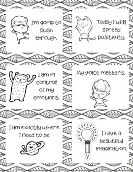 Positive Affirmation Coloring Cards