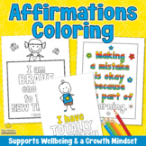 POSITIVE AFFIRMATIONS Coloring Pages for a Growth Mindset