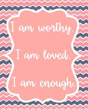 Positive Affirmation Poster Quote Classroom Decor Teachers School Counselors