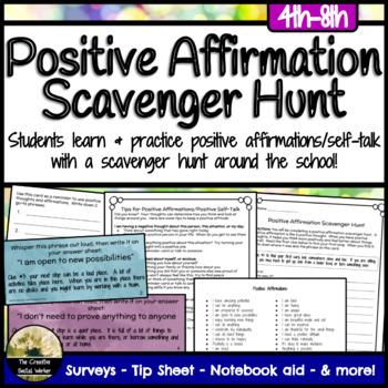 Positive Affirmation Activity Scavenger Hunt