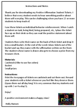 Positive Affirmation Student Tickets, a classroom management tool