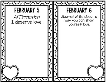 Positive Affirmation and Self Esteem Journal - February - School Counseling