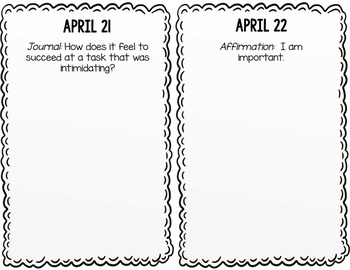 Positive Affirmation and Self Esteem Journal - April - School Counseling