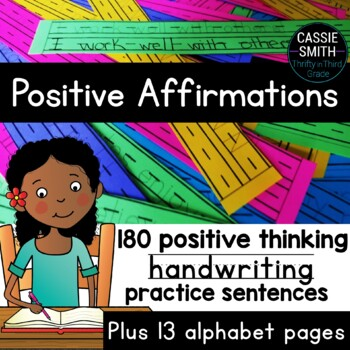 Positive Affirmations -180 Encouraging Handwriting Practice Sentences