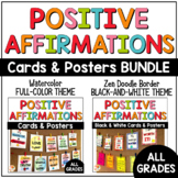 Positive Affirmations Posters and Cards BUNDLE: Full-Color and Black-and-White