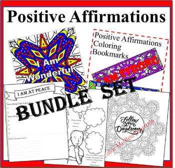 Positive Affirmations Bundle Set- 4 Power Of Positivity Coloring and Journal Set