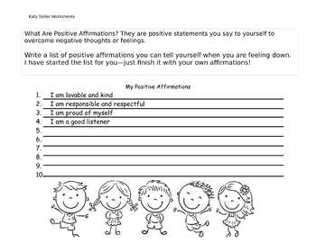 Positive Affirmations Self Care Worksheet