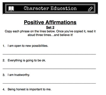 Positive Affirmations - Set 2 (Character Education)