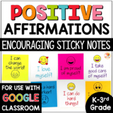 Positive Affirmations Sticky Notes for Lower Grades