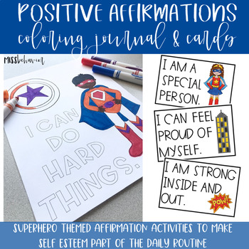 Positive Affirmations: Super Hero Theme Coloring Journal & Affirmation Cards