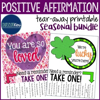 Positive Affirmations Tear Away Printables - Encouragement - School Counseling
