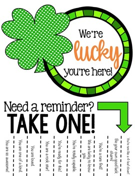 Positive Affirmations Tear Away Printable - St. Patricks Day - School Counseling