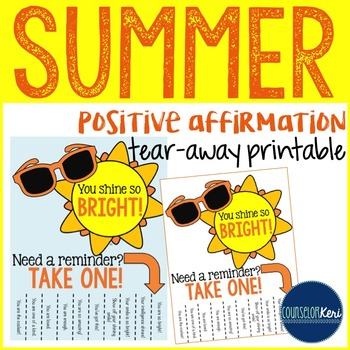 Positive Affirmations Tear Away Printable - Summer Theme - School Counseling