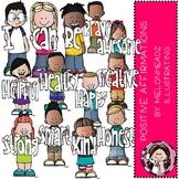 Positive Affirmations clip art - COMBO PACK - Melonheadz Clipart