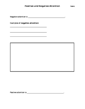 Positive Attention & Negative Attention worksheet and role play