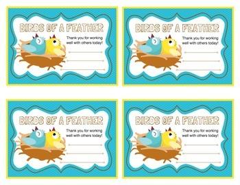 Positive Behavior Awards (Bird themed daily pep talks!)