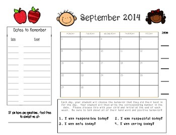 Positive Behavior Calendars