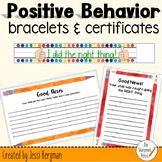 Positive Behavior Certificate Cards and Bracelets