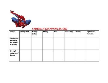 Positive Behavior Chart for Boy