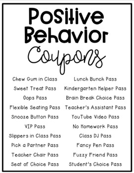 Positive Behavior Coupons (EDITABLE)