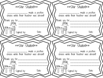 Positive Behavior Coupons for Supply Teachers