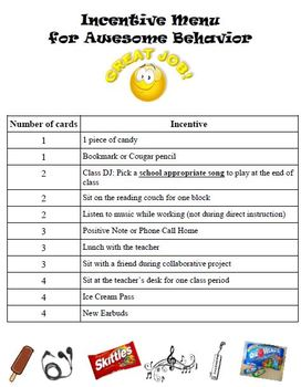 Positive Behavior Incentive Menu