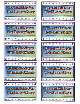 Positive Behavior Incentive Punch Cards
