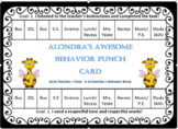 "Positive Behavior Intervention Plan with ""Awesome Behavior"" Punch Card!-Editable"