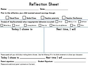 Positive Behavior Intervention Reflection Sheet