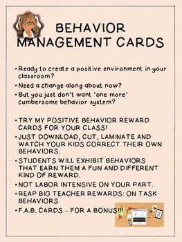 Positive Behavior Management Cards