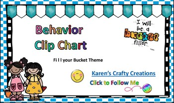Positive Behavior Management Chart - Fill our Bucket Theme