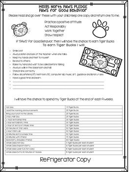 Positive Behavior Management: Tiger Bucks