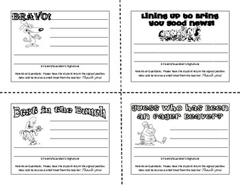 Positive Behavior Note Cards