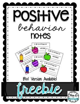 Positive Behavior Notes FREEBIE