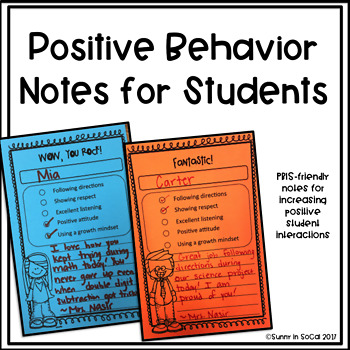 Positive Behavior Notes for Students