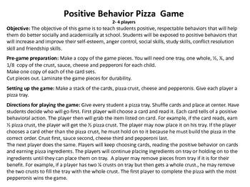 Positive Behavior Pizza Game